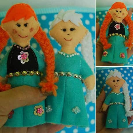Elsa y Anna de Frozen en Fieltro17