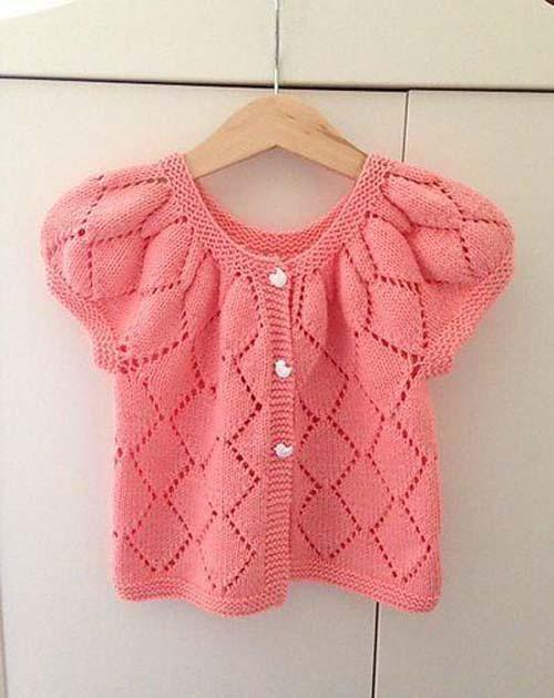 Modelos de chalecos tejidos a dos agujas para niñas de 1 año05