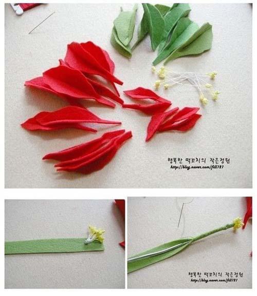 Molde para hacer una flor de noche buena con fieltro01