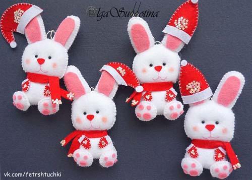 Moldes de conejos navideños en fieltro07