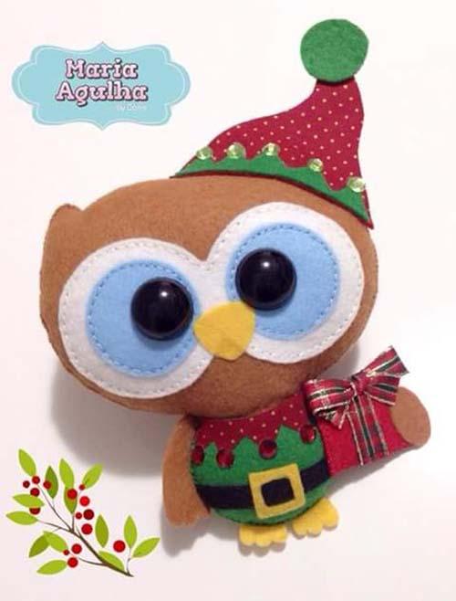 Moldes gratis de buhos navideños de fieltro01