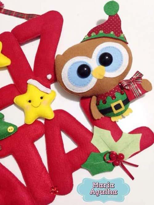 Moldes gratis de buhos navideños de fieltro03