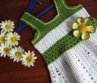 modelo para hacer un vestido de dos colores a crochet