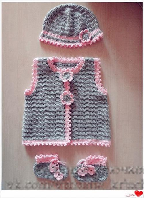 Patron para tejer un chaleco y zapatitos para bebe02