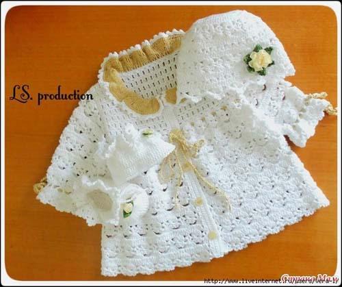 Patron para tejer una chambrita a crochet para bebe05