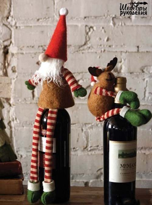 Ideas de botellas de vino decoradas para regalar en navidad for Adornos navidenos para regalar