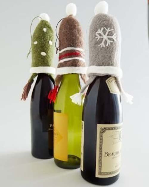 ideas de botellas de vino decoradas para regalar en navidad 03
