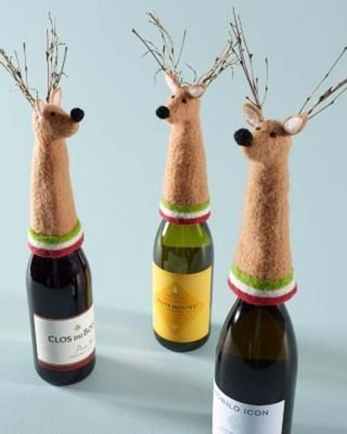 ideas de botellas de vino decoradas para regalar en navidad 07