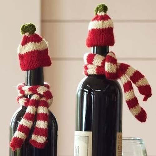 ideas de botellas de vino decoradas para regalar en navidad 08