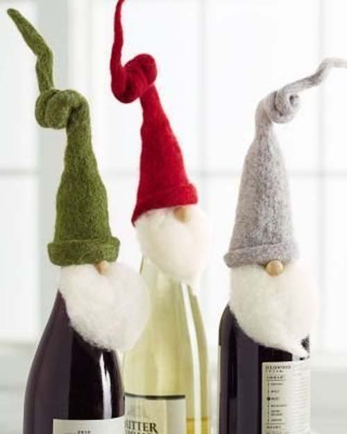 ideas de botellas de vino decoradas para regalar en navidad 09