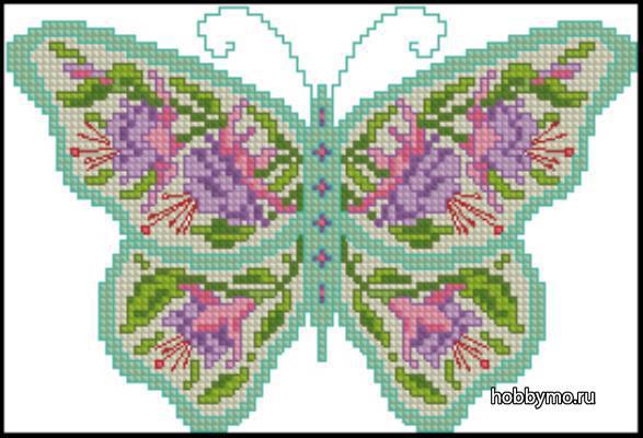 Como bordar mariposas con graficos en punto de cruz