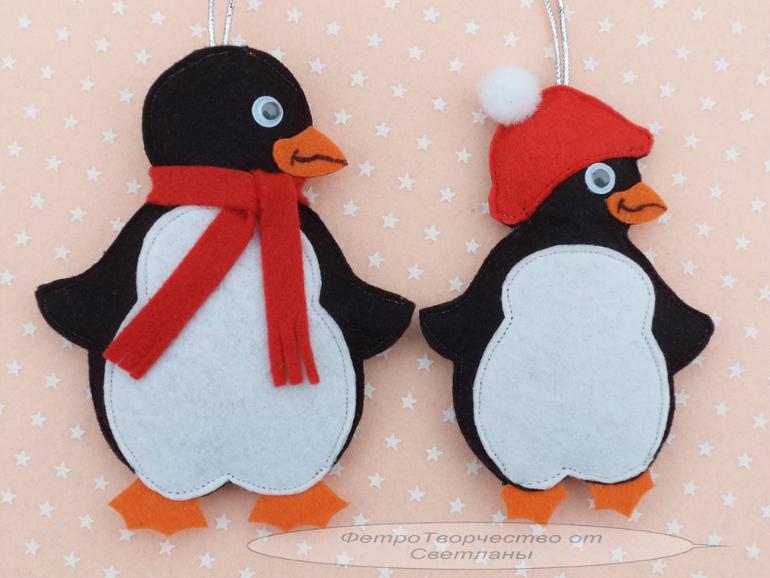 pinguinos navideños de fieltro02