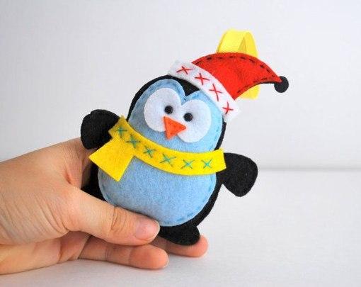 pinguinos navideños de fieltro04