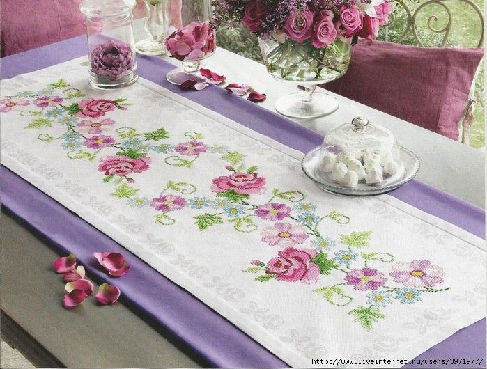 Como bordar un camino de mesa en punto de cruz como bordar - Manteles mesas grandes ...
