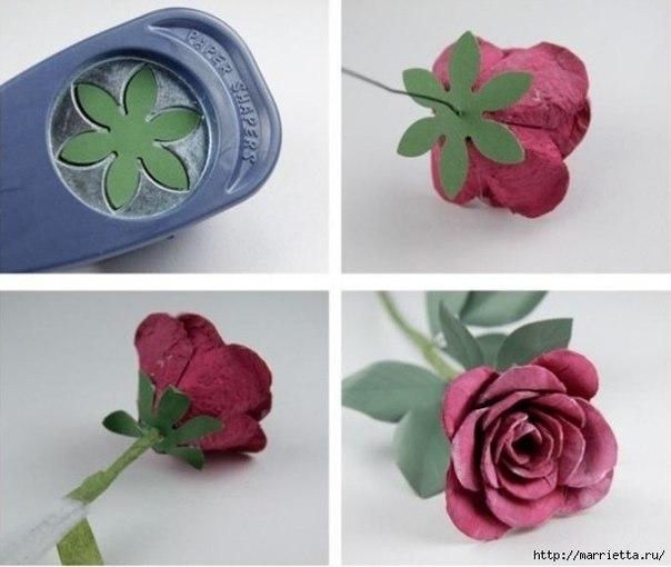 Como hacer rosas con carton de huevos05