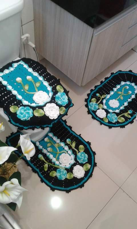 Como tejer un juego de baño a crochet