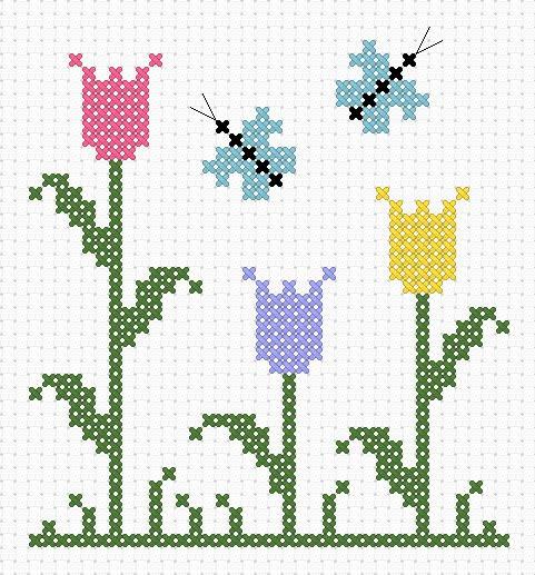 Bonitos bordados en punto de cruz de flores02