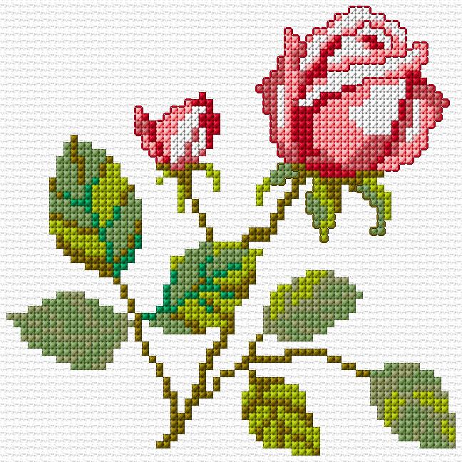 Bonitos bordados en punto de cruz de flores04