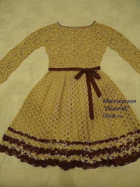 Vestido manga larga tejido a crochet para niñas01