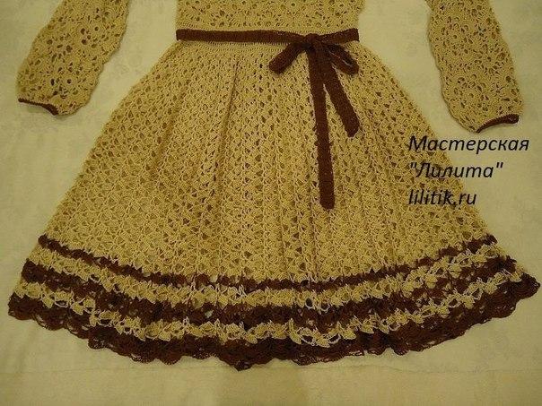 Vestido manga larga tejido a crochet para niñas03