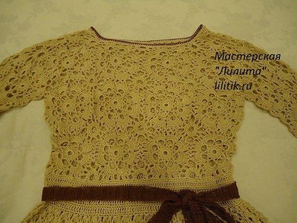 Vestido manga larga tejido a crochet para niñas05