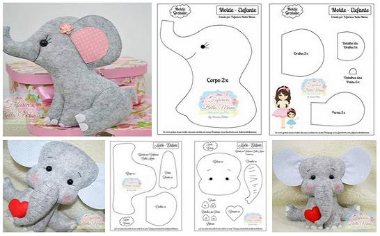 Como hacer elefantes de fieltro con moldes05