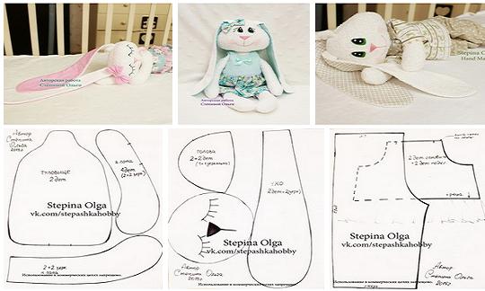 Como hacer un conejo de peluche con moldes01