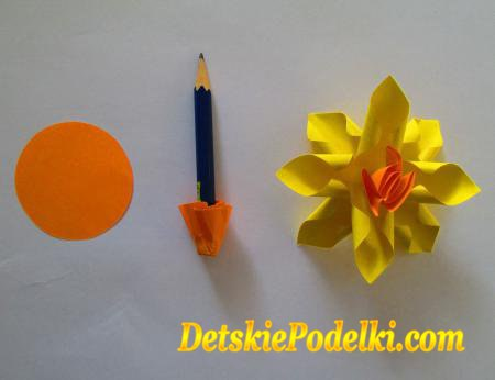 Como hacer un ramo de narcisos de papel04