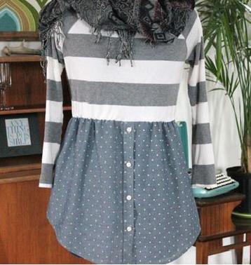 como hacer un vestido uniendo una camiseta y un sueter4