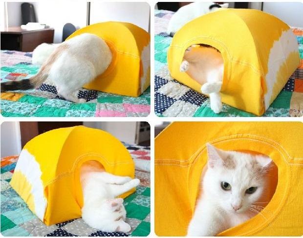 como hacer una casa para gatos con una camiseta19