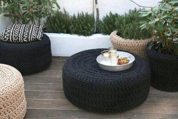 como hacer una mesa de jardin con una llanta3