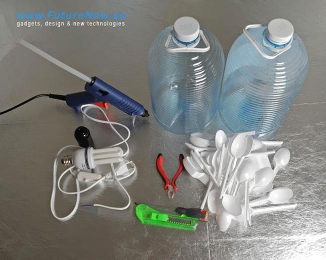 como hacer lámparas con cucharillas1