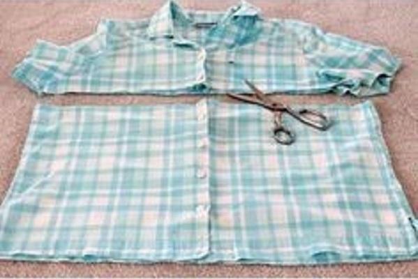 convierte una vieja camisa en un delantal de cocina12
