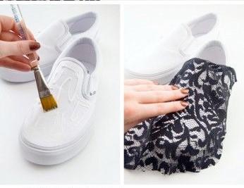 decorar tus zapatillas con tela de encaje3