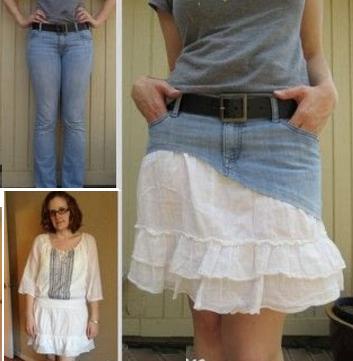 Como hacer faldas de dos texturas recicladas1
