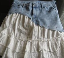 Como hacer faldas de dos texturas recicladas5