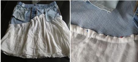 Como hacer faldas de dos texturas recicladas6