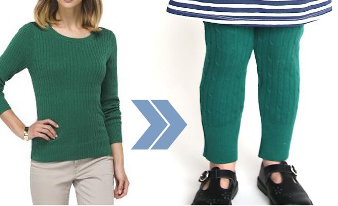 Como hacer leggins para niñas con viejos sueters1