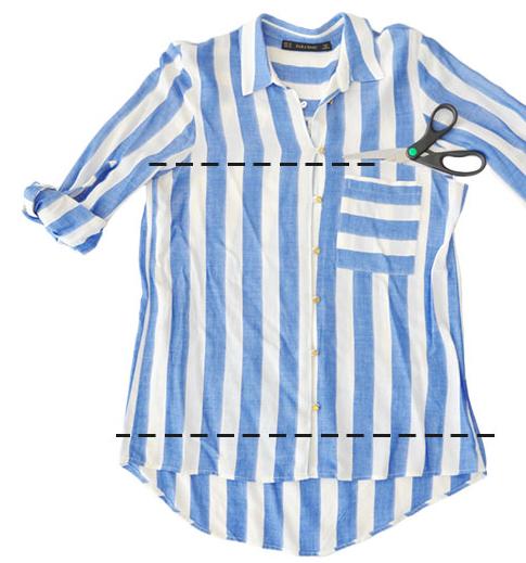 Como hacer un top sin costuras con una camisa 3