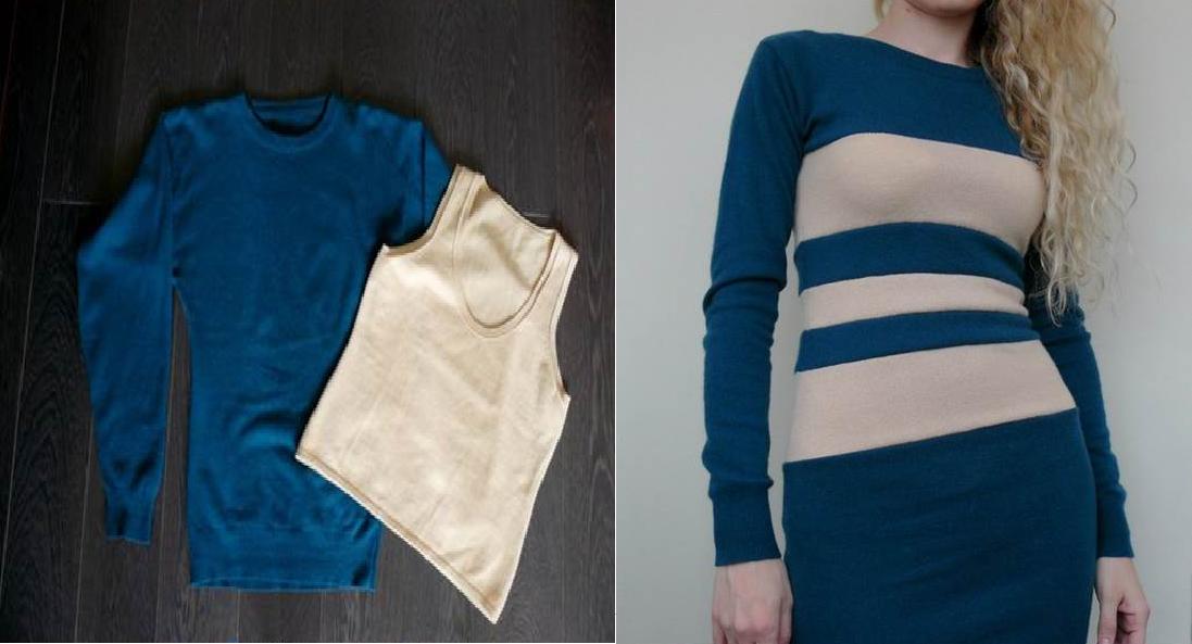 Como hacer un vestido ajustado con un par de camisetas1