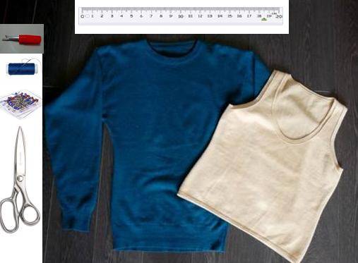 Como hacer un vestido ajustado con un par de camisetas2
