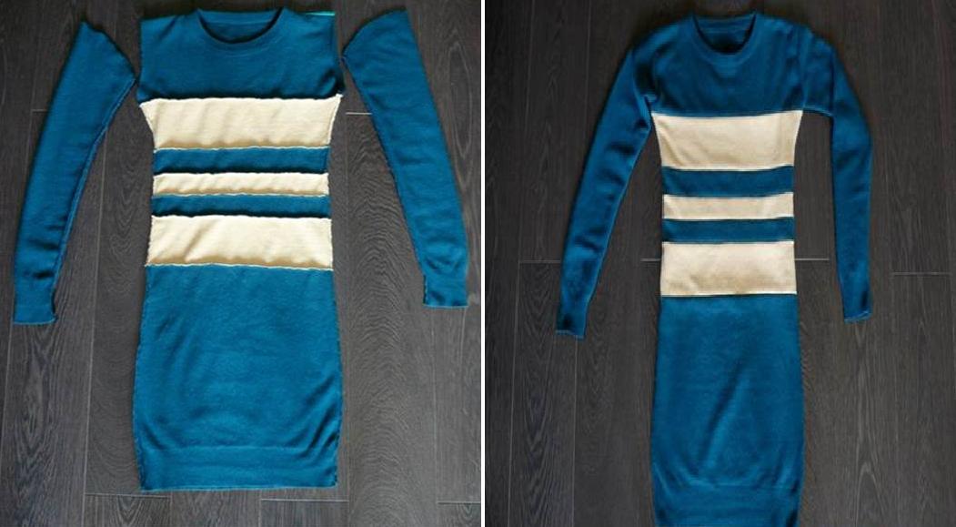Como hacer un vestido ajustado con un par de camisetas6