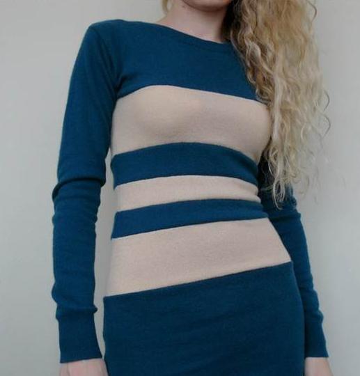 Como hacer un vestido ajustado con un par de camisetas7