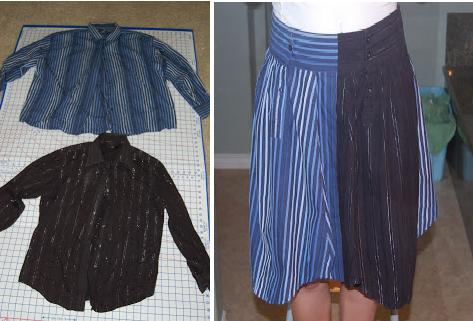 Como hacer una falda con mangas de camisas1