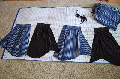 Como hacer una falda con mangas de camisas3