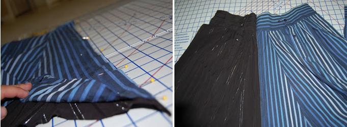Como hacer una falda con mangas de camisas4