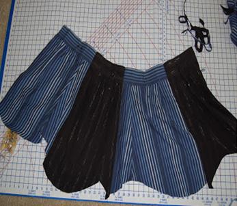Como hacer una falda con mangas de camisas5