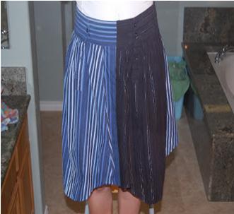 Como hacer una falda con mangas de camisas6
