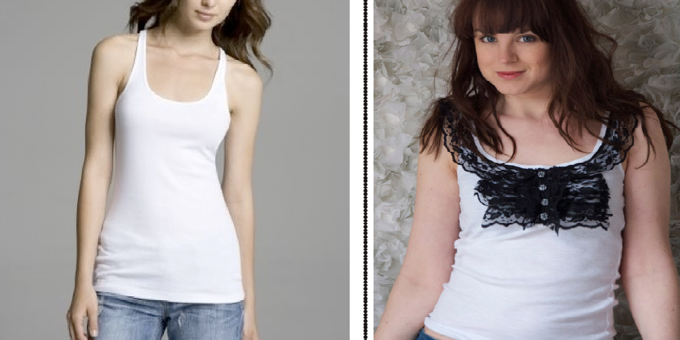Como renovar camisetas sin mangas con encaje y botones facilmente1