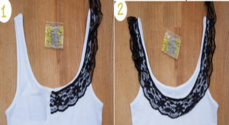 Como renovar camisetas sin mangas con encaje y botones facilmente3